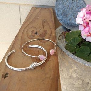 Set of pink gemstone bangle bracelets